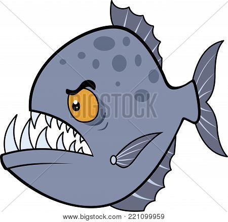 Picture evil piranha. Vector illustration eps. Hungry piranha