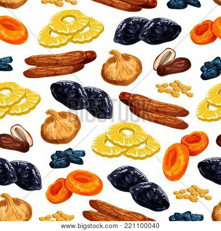 Dried fruits seamless pattern of sweet dry fruit snacks. Vector tile of dried raisins, prunes or apricot and dates or sweet figs, pineapple or cherry and desserts for fruit shop or market design
