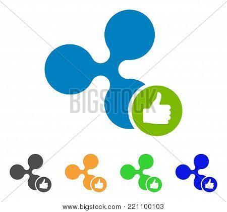 Ripple Thumb Up icon. Vector illustration style is a flat iconic ripple thumb up symbol with gray, yellow, green, blue color versions. Designed for web and software interfaces.