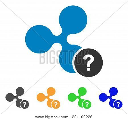 Ripple Unknown Status icon. Vector illustration style is a flat iconic ripple unknown status symbol with grey, yellow, green, blue color variants. Designed for web and software interfaces.