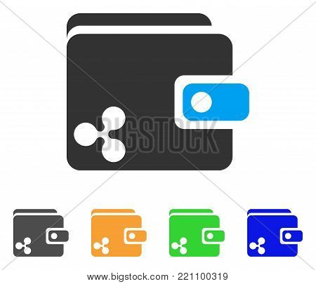 Ripple Wallet icon. Vector illustration style is a flat iconic ripple wallet symbol with gray, yellow, green, blue color versions. Designed for web and software interfaces.