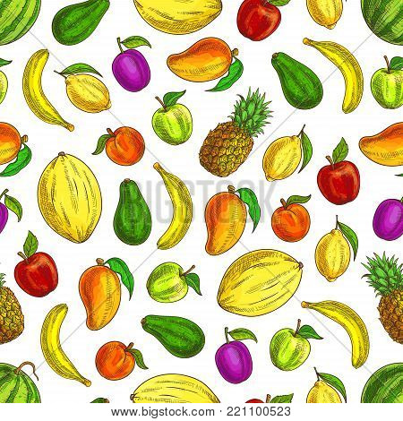 Fruits sketch icons in fruit pattern. Seamless background of fresh tropical, exotic and citrus fruits of mango, lemon, watermelon, banana, plum, apple, watermelon, avocado. Decorative fruits pattern