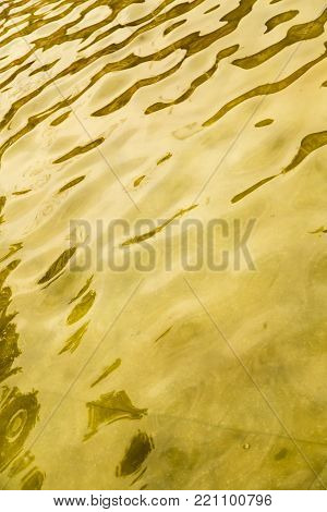 background of yellow surface of the water .