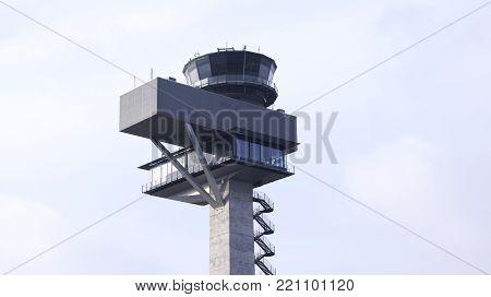 BERLIN, GERMANY - JAN 17th, 2015: new Airport control tower at Berlin Brandenburg Airport BER.