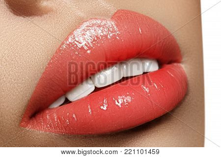 Closeup Plump Lips. Lip Care, Augmentation, Fillers. Macro Photo With Face Detail. Natural Shape Wit