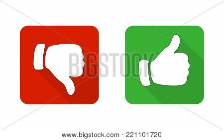 Thumb up and down the red and green icons. Vector illustration. I like and do not like the square buttons in a flat design.