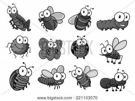 Insect cartoon character set. Butterfly, bug, bee, caterpillar, fly and ladybug, spider, mosquito, wasp and ant, bumblebee, dragonfly, grasshopper and hornet for childish book or t-shirt print design