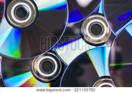 Close up shot of multiple dvd disks