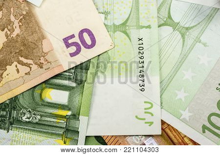 Close up shot of a bunch euro bills