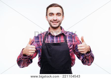 Confident Shopkeeper, Cheef Or Worker In Apron Wear Giving Thumb Up, Concept Of Successful Small Bus