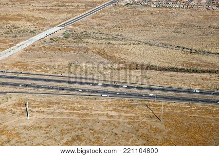 The Black Canyon freeway slices through the desert in Phoenix