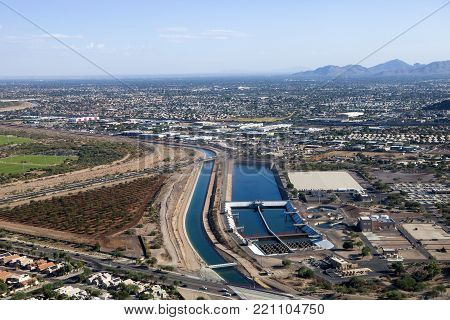 An aerial view of the water treatment plant and suburban Phoenix