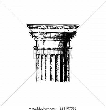 Doric order. Vector hand drawn illustration of classical capital. Illustration in vintage engraving style.
