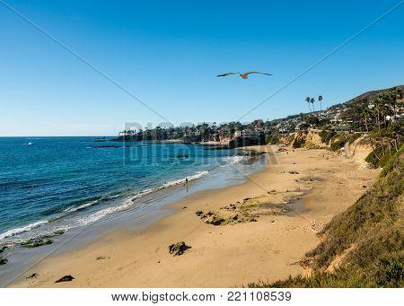View of the sandy shoreline at Laguna Beach in California
