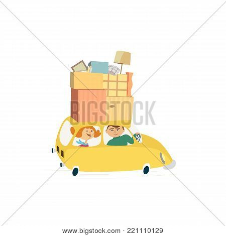 Home change concept. Young happy couple move to new house, drive car with moving cardboard boxes. Relocation to apartment, delivery vehicle. Cute fancy cartoon background design. Vector illustration