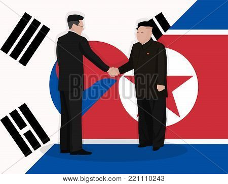 Handshake of leaders of states against the background of state flags
