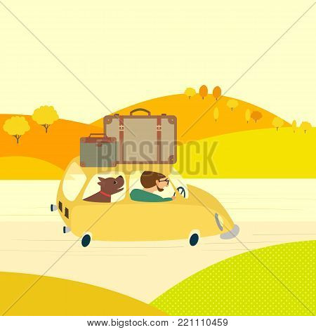 Travel with pet by car concept. Young man tripping outside, drive car by rural road. Touring trip with domestic animal by vehicle. Cute fancy cartoon colordul landscape background. Vector illustration