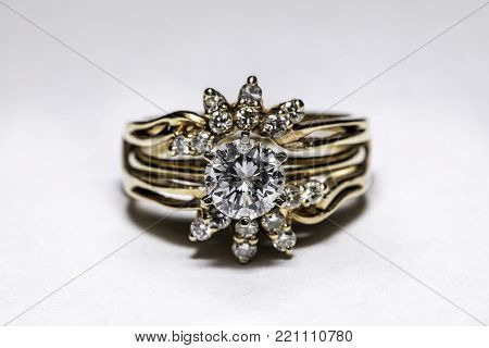 Fancy vintage diamond ring with exquisite setting