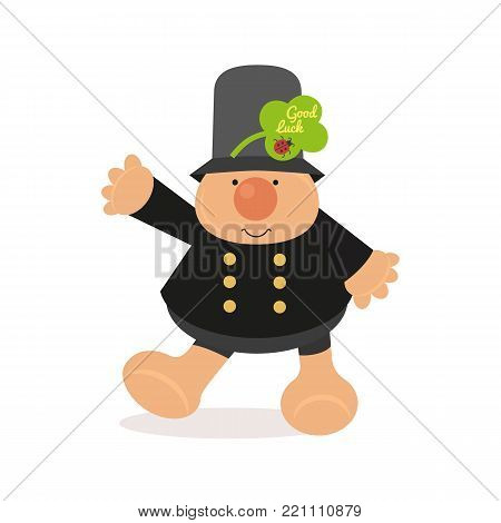 Chimney sweep icon. Cute comic cartoon flat style. Good luck wish on green shamrock clover leaf. Ladybug sign. Fancy fortune symbol. Kids toy fun design. Greeting card vector background illustration