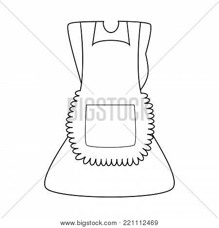 cartoon dress with pinafore outline isolated on white background.