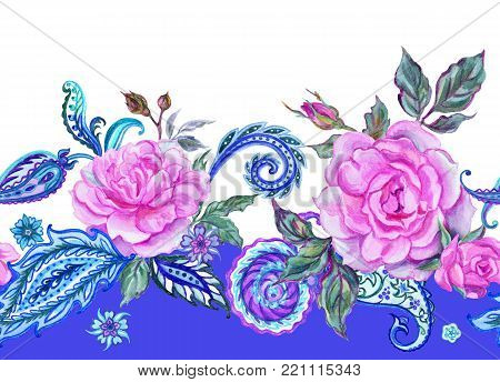 Seamless watercolor border of paisley and roses on a blue background.