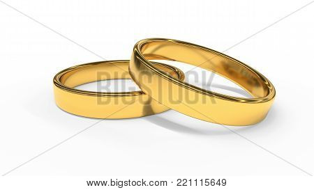 A pair of rings on a white background isi, 3d render