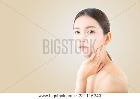 Portrait Of Beautiful Asian Woman Makeup Of Cosmetic, Girl Hand Touch Cheek And Smile With Arrow Ant