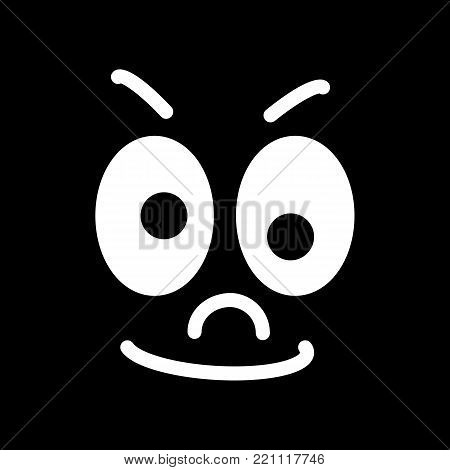 Cartoon face with a skeptical expression on black background. eps 10