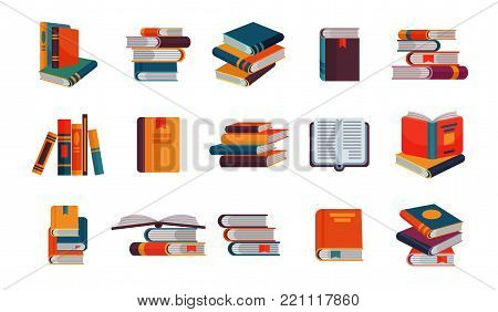 Books vector stack of textbooks and notebooks on bookshelves reading literature in library or bookstore bookish cover illustration set isolated on white background.