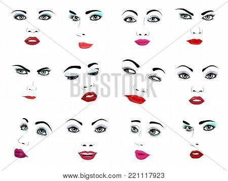 Woman face vector portrait female facial or girls beauty fashion faced care and beautiful women facing with makeup illustration isolated on white background.