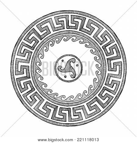 Round Greek ornament with meander and wave in vintage engraving style.