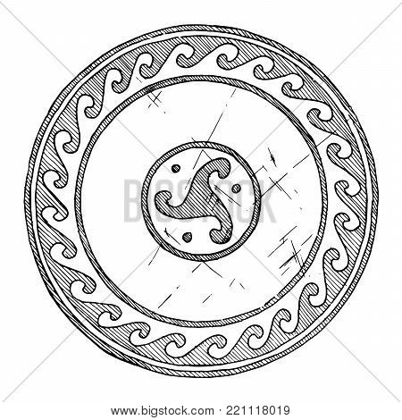 Round Greek ornament with wave. isolated on white background.