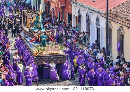 Antigua, Guatemala -  March 26, 2017: Lent procession in town with most famous Holy Week celebrations in Latin America