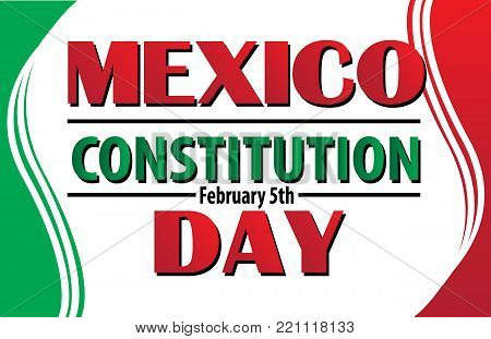 Mexico Constitution Day Banner with Mexican Flag Border
