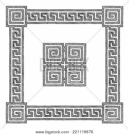 Frame with traditional ancient greek border. Meander. Illustration in vintage engraving style.