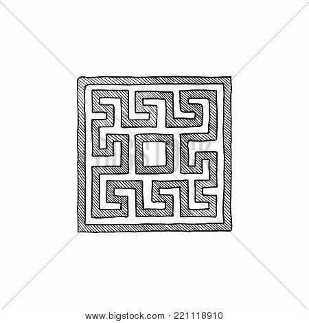 Square meander, old greek border ornament in ink hand drawn style.