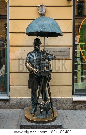 St. Petersburg, Russia - CIRCA June, 2017: monument to Photographer. in Malaya Sadovaya Street in St. Petersburg, Russia