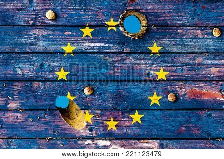 European Union flag painted on old weathered boards