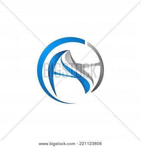 modern circle letter ah initial alphabet logo design template white background