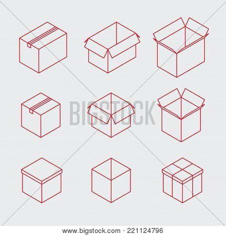 Vector isometric post box set. Collection of isometric outline style boxes of different types. You can also edit outlines, just add stroke wight to shapes on editable layer.
