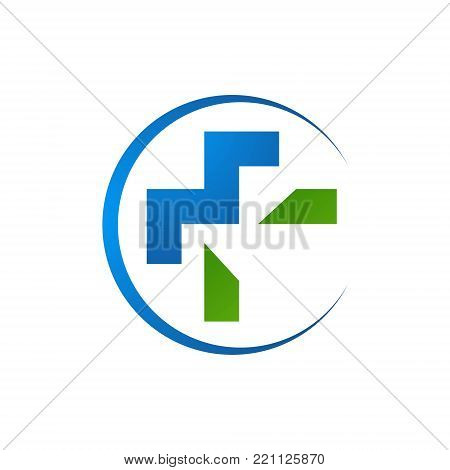 Circle green cross medical symbol medicare pharmacy clinic health image vector icon