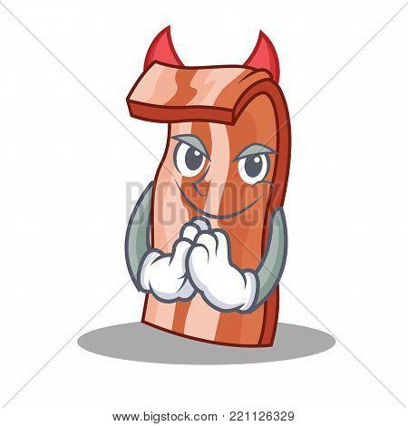 Devil bacon mascot cartoon style vector illustration