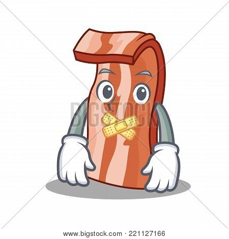 Silent bacon mascot cartoon style vector illustration