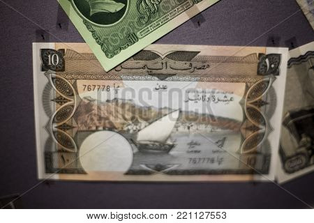 Collage set of main word currency Yuan, US Dollar and Euro bank notes business concept
