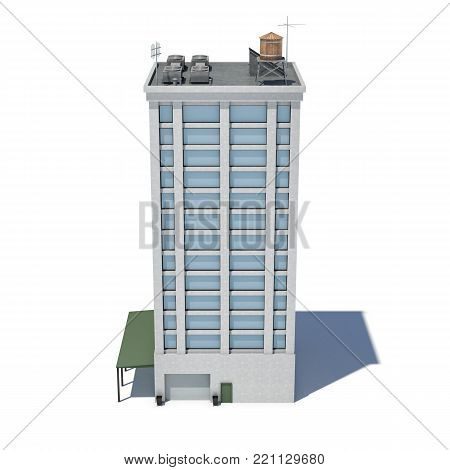 3d rendering of a white high office building with many large windows and a garage on the ground floor. Commercial building. Offices and industrial premises. Bland building exterior.