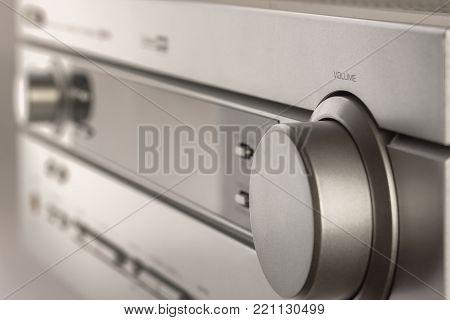 Hifi system amplifier. Home musical equipment closeup