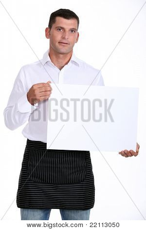 Cafe waiter with a board left blank for your message