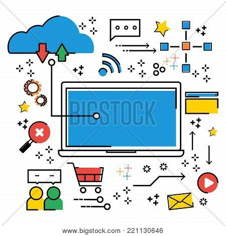 Cloud computing business online technology IoT abstract infographic flat line doodle. Vector illustration business trend cloud computing concept.