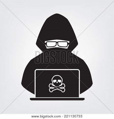 Hacker icon black shadow with skull cross bone on white background. Vector illustration cyber crime online security concept.