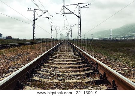 Old railway tracks, perspective view, travel landscape